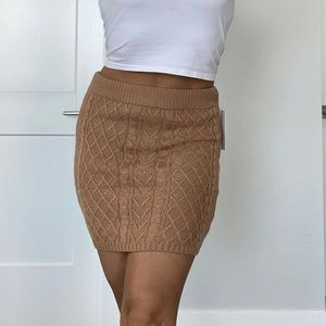 Camel Cable Knit Skirt